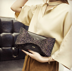 Sparkling Bow Black Clutch Bag