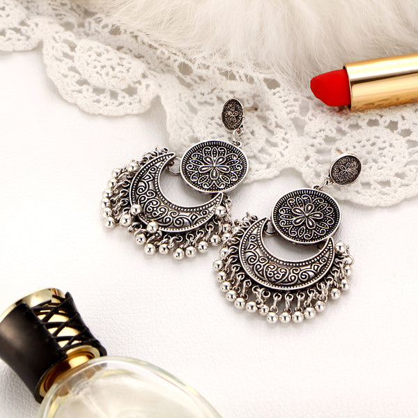 Vintage Flower Tassel Ethnic Silver Color Earring