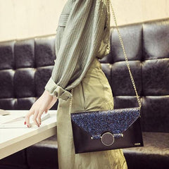 Shiny Envelope Black Clutch Handbag