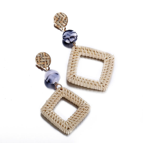 Rattan Geometric Square Earring