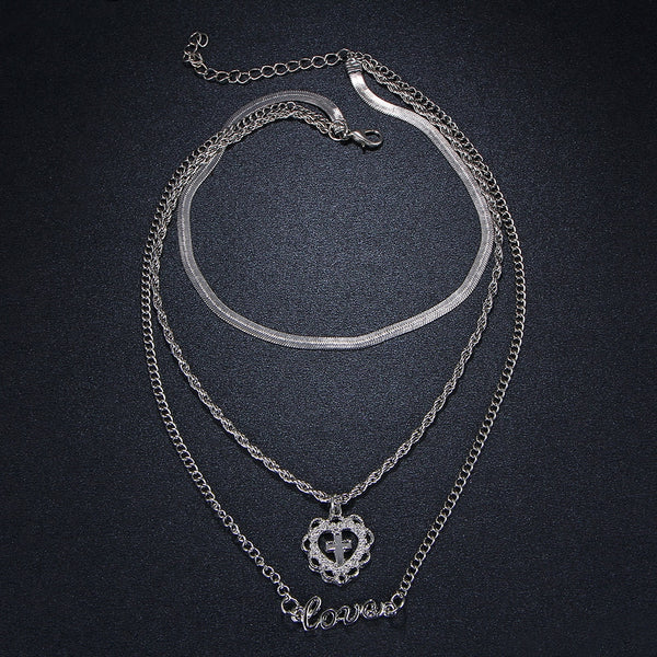 Multilayer Cross Heart Silver Color Necklace