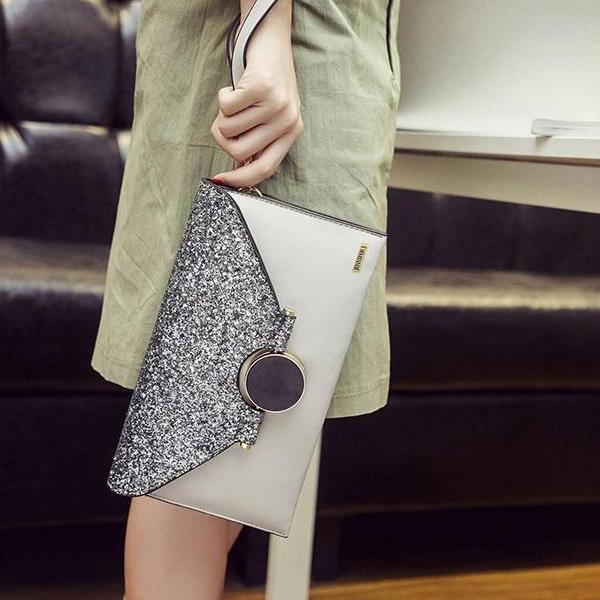 Shiny Envelope Grey Clutch Handbag