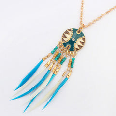 Dream Catcher White Green Tassel Necklace