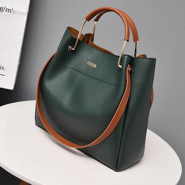 Top Handle Green Shoulder Bag