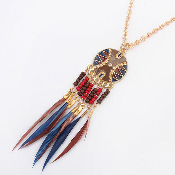 Dream Catcher Blue Brown Tassel Necklace