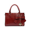 Bow Knot Red Tote Handbag With Zipper