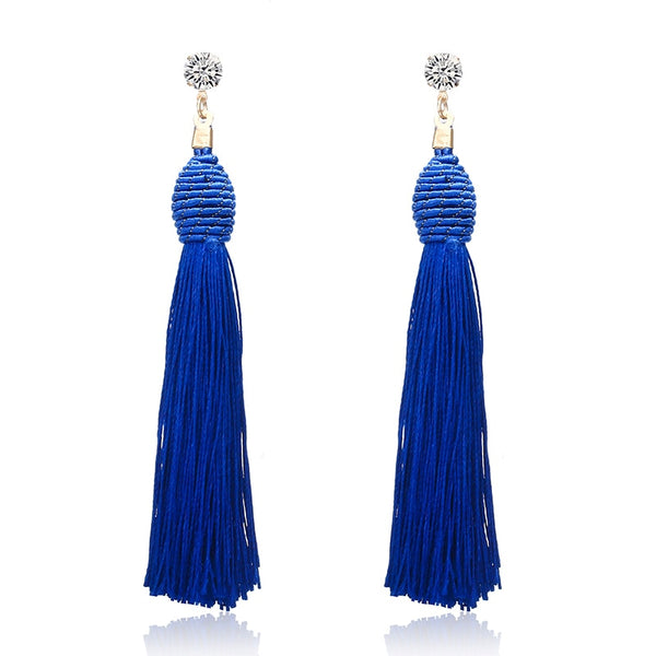 Long Tassel Blue Earring