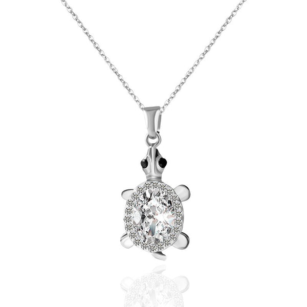 Turtle Pendant Silver Rhinestone Necklace