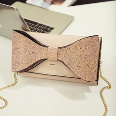 Sparkling Bow Pink Clutch Bag