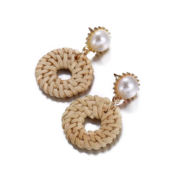 Rattan Geometric Small Circle Earring