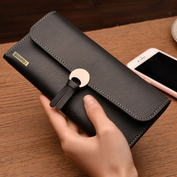 Clutch Long Black Hasp Wallet