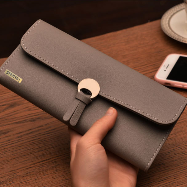 Clutch Long Grey Hasp Wallet