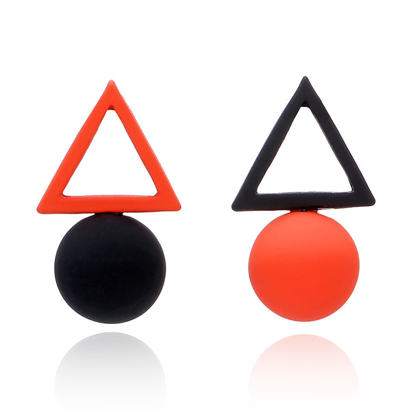 Triangular Spherical Red Black Earring