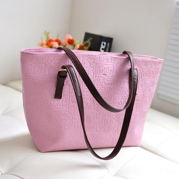 Large Capacity Patterned Pink Handbag