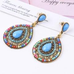 Bohemian Oval Beads Blue Earring