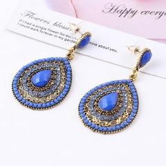 Bohemian Oval Beads Dark Blue Earring