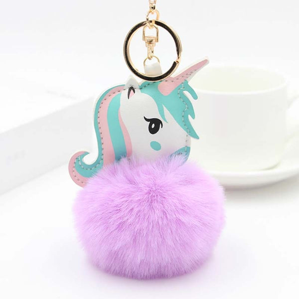 Unicorn Purple Ball Bag Charm