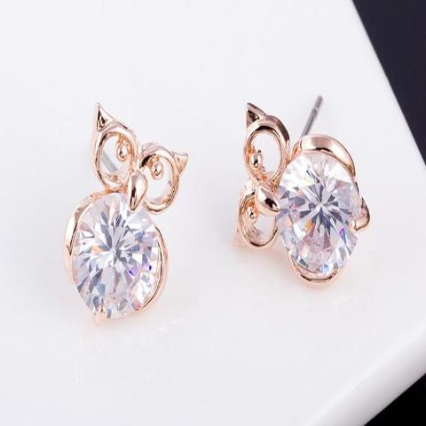 Crystal Owl Stud Rose Gold Earring