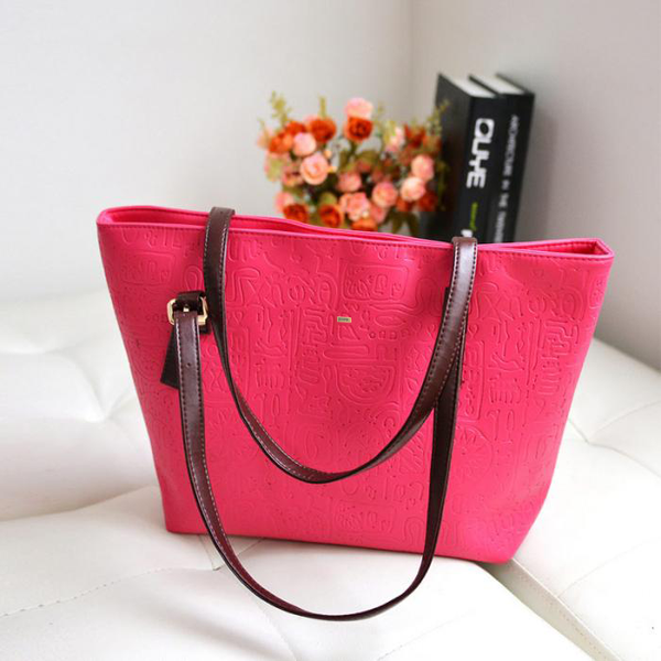 Large Capacity Patterned Hot Pink Handbag
