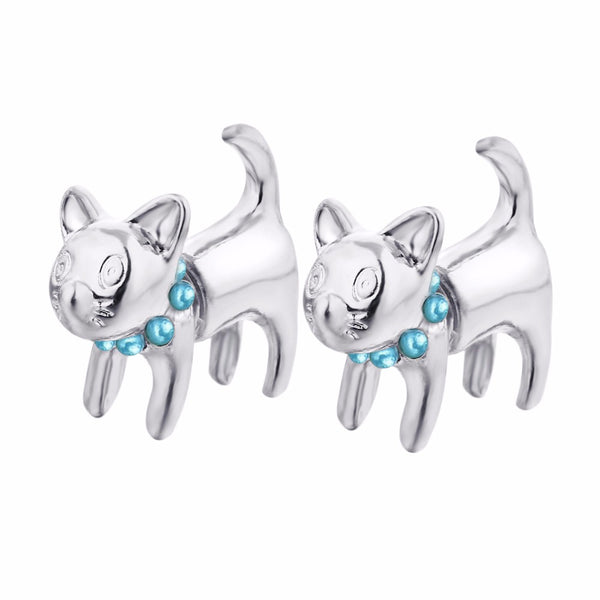 Cat Silver Color Stud Earring