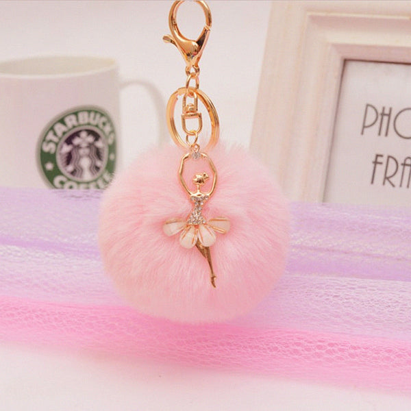 Pom Pom Angel Pink Bag Charm