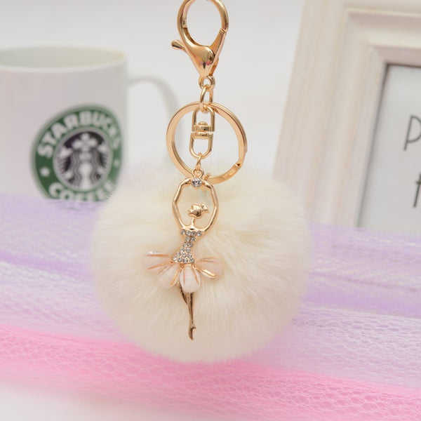 Pom Pom Angel White Bag Charm