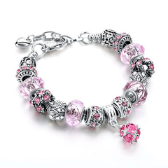 Charm Silver Pink Crystal Bead Bracelet