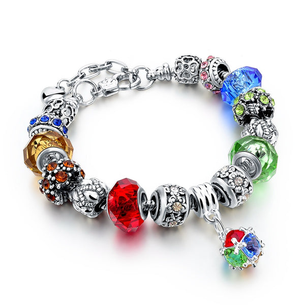 Charm Silver Multi Color Crystal Bead Bracelet
