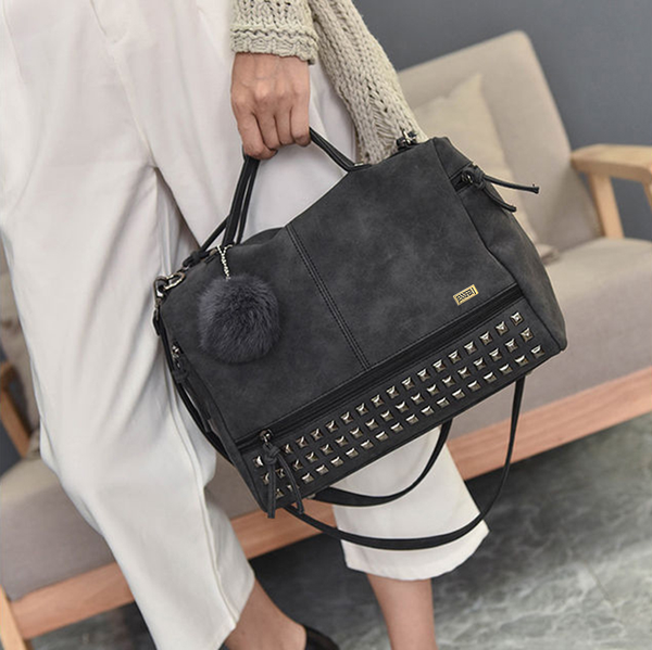 Top Handle Rivet Shoulder Black Bag