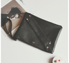 Rivetted Cross Strap Envelope Black Handbag