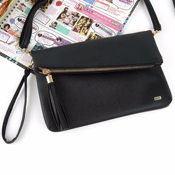 Fold Closure Sling Black Handbag