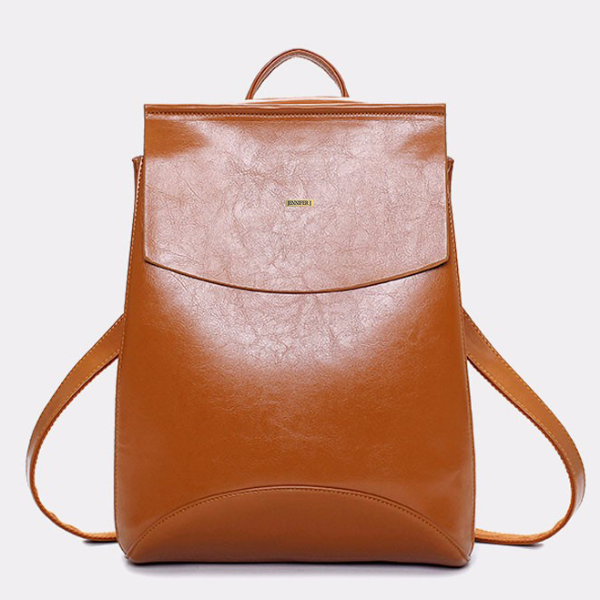 Top-Handle Dark Brown Designer Backpack