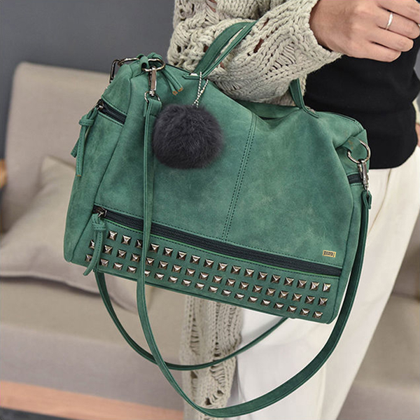 Top Handle Rivet Shoulder Green Bag