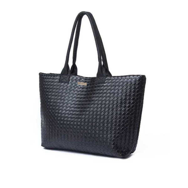 Oversized Black Weave Bag