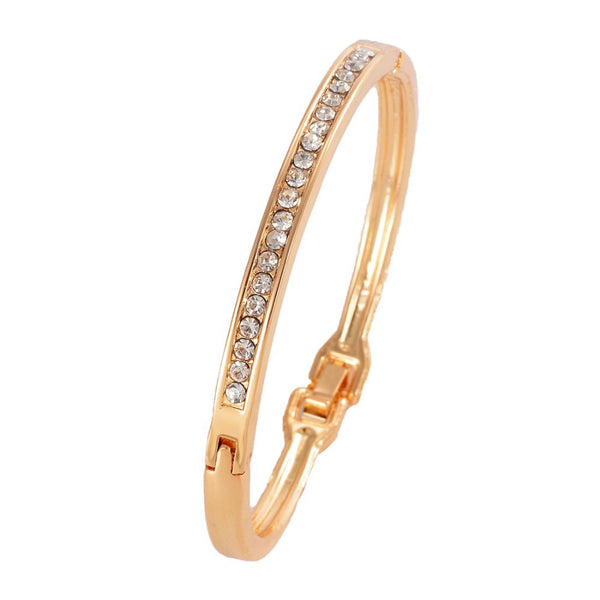 Rhinestone Bangle Gold Color Crystal Bracelet