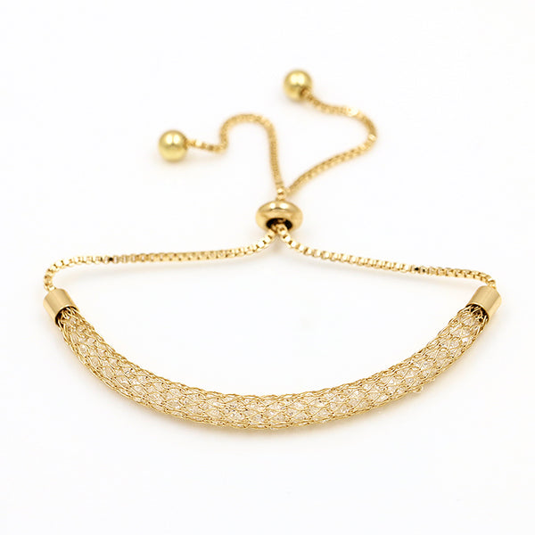 Cubic Zirconia Crystal Gold Adjustable Bracelet