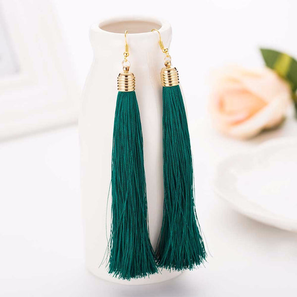 Dangle Tassel Green Earring