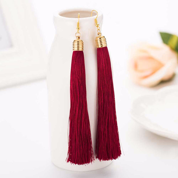 Dangle Tassel Maroon Earring