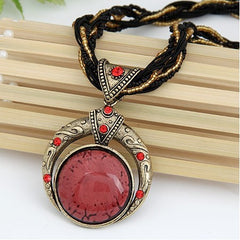 Retro Bohemia Style Multilayer Beads Red Crystal Necklace