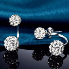 Double Ball Silver Plated Stud Earring