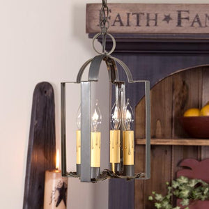Irvin's Country Tinware Four Light Saddle Light in Blacken Tin
