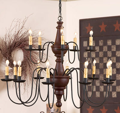 Harrison Two Tier Wooden Chandelier