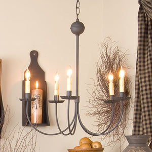 Large 5-Arm Primitive Chandelier in Textured Black