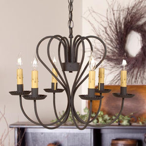 Irvin's Country Tinware Georgetown Chandelier in Textured Black - Large