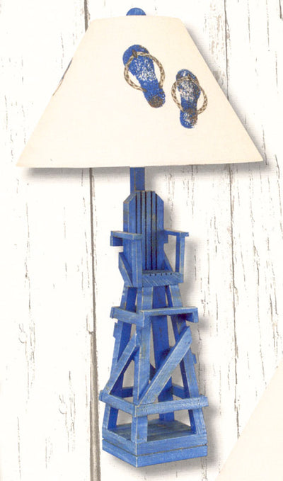 Coast Lamp Manufacturing Life Guard Chair Table Lamp - Cottage Blue