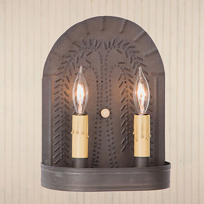 Irvin's Country Tinware Double Sconces with Willow in Blacken Tin