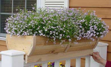 Cedar Rounded deck rail planter Large