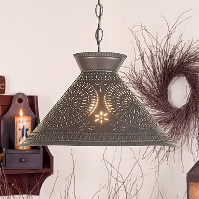 Irvin's Country Tinware Roosevelt Shade Light with Chisel Design in  Blackened Tin
