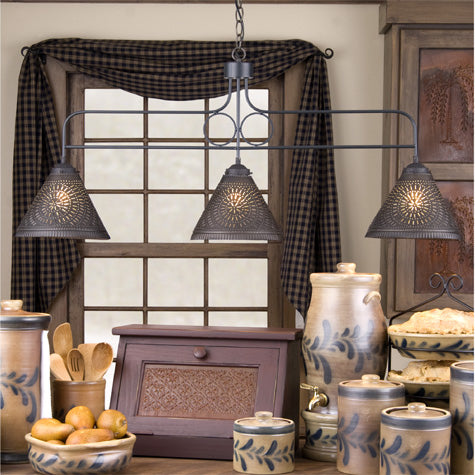 Large Franklin Hanging Lights with chisel design