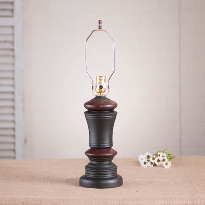 Peppermill Wood Table Lamp Base in Sturbridge Black with Red Stripe